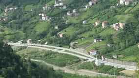 Rivière et trafic de route de vallée de feuillage de forêt de montagne banque de vidéos