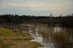 Rivière, inondation de ressort Photos libres de droits
