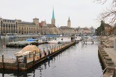 Rivière Limmat Zurich, Suisse image libre de droits