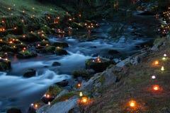 Rivière magique la nuit Photos stock