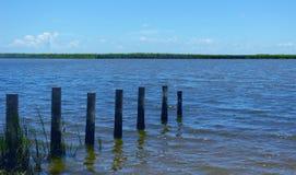 Rivière montrant les poteaux et les gass en bois sur des banques photo stock