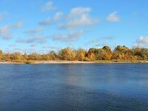 Rivière Nemunas et arbres colorés d'automne, Lithuanie Photographie stock