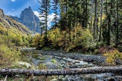 Rivière rapide de montagne dans les collines sur le fond des collines secteur Boisé-montagneux sakhaline images libres de droits