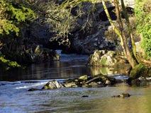 Rivière, sunloit, avec des roches petites et grandes Photos libres de droits