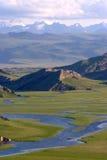 rivière sur le neige-iceberg de montagnes de prairie Photos libres de droits
