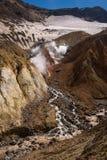 Rivière traversant le canyon avec des fumerolles à l'intérieur de cratère de volcan de Mutnovsky Photo stock