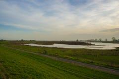 Rivière voisine de Nimègue de route de campagne image stock