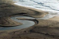 Rivier aan Oceaan Stock Afbeelding