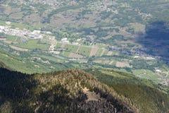 Rivier Adda dichtbij San Giacomo di Teglio, Valtellina, Italië Stock Afbeelding