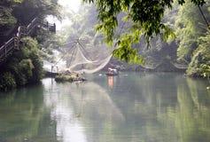 Rivier in bamboebos Royalty-vrije Stock Foto