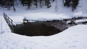 Rivier binnen met sneeuw Stock Foto