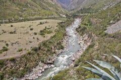 Rivier in canion Op Inca Trail aan Machu Picchu Ontzagwekkend hallo Royalty-vrije Stock Afbeelding