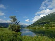 Rivier in de bergen van Montenegro, stad Plav Stock Afbeelding