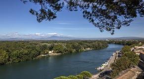 Rivier de Rhône - Avignon - Frankrijk Stock Afbeeldingen
