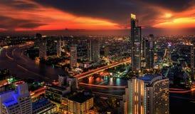 Rivier in de stad van Bangkok Royalty-vrije Stock Afbeelding