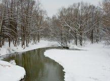 Rivier in de winter Royalty-vrije Stock Foto