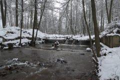Rivier in de winter Stock Afbeeldingen