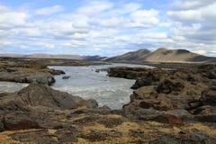 Rivier dichtbij askja, IJsland stock fotografie