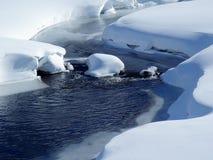 Rivier die door sneeuw behandeld land glijden royalty-vrije stock afbeelding