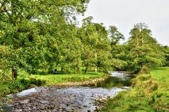 Rivier die hoewel weelderig Engels platteland kronkelt stock afbeelding