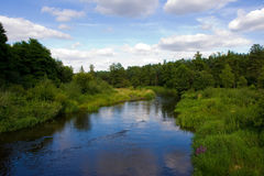 Rivier die met groen op een de zomerdag wordt omringd royalty-vrije stock afbeelding