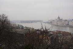 Rivier Donau en Margaret Island Budapest Stock Foto's