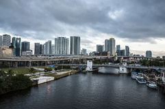 Rivier en Miami van de binnenstad Royalty-vrije Stock Fotografie