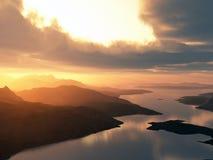 Rivier en mooie zonsondergang royalty-vrije illustratie