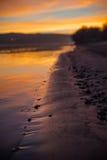 Rivier en openbaar strand bij zonsondergang Stock Fotografie
