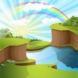 Rivier en regenboog royalty-vrije illustratie