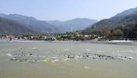 Rivier Ganges in Rishikesh, India royalty-vrije stock foto's