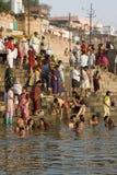 Rivier Ganges in Varanasi - India Stock Afbeelding