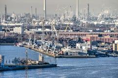 Rivier, haven en industrieel royalty-vrije stock foto
