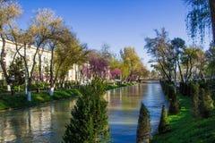 Rivier in het centrum van Tashkent, Oezbekistan Stock Foto