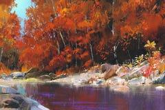 Rivier in het de herfstbos Stock Foto