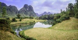 Een landelijke rivier in Vietnam Royalty-vrije Stock Afbeeldingen
