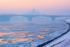 Rivier, ijsschollen, de brug van Margaret, het Parlement overzicht in de winter, Boedapest stock foto's