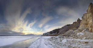Rivier Lena, Yakutia Rusland royalty-vrije stock afbeeldingen