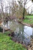 Rivier, mening van een kleine rivier in het midden van de gebieden royalty-vrije stock fotografie