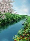 Rivier met bloemen stock illustratie