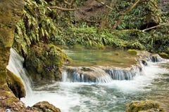Rivier met kleine watervallen stock afbeelding