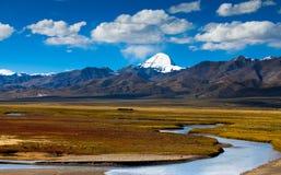 Rivier in Mt. Kailash is voortgekomen die royalty-vrije stock foto