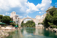 rivier Neretva in Mostar Royalty-vrije Stock Foto's