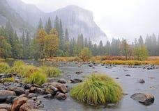 Rivier in Nevelige Vallei Yosemite Royalty-vrije Stock Foto's