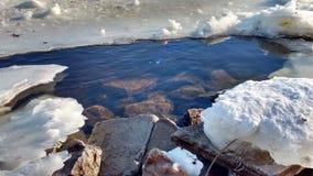 Rivier onder het ijs Royalty-vrije Stock Foto's