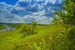 Rivier op landschap Stock Afbeelding
