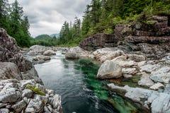 Rivier op Sutton Pas, het Eiland van Vancouver stock fotografie