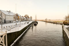 Rivier in oude stad Ribe, Denemarken royalty-vrije stock fotografie