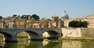 Rivier Rome Vatikaan en Tiber stock afbeelding