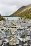 Rivier Shumi Multinskiyemeren De herfstlandschap van Altaibergen Stock Foto's